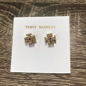 NWOT Tory Burch Crystal Logo Stud In Gold